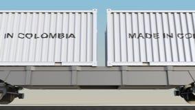 移动的货物火车和容器有做的在哥伦比亚说明 铁路运输 无缝的圈4K夹子 库存例证