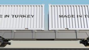 移动的货物火车和容器有做的在土耳其说明 铁路运输 无缝的圈4K夹子 库存例证