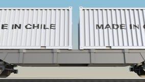 移动的货物火车和容器有做的在智利说明 铁路运输 无缝的圈4K夹子 皇族释放例证