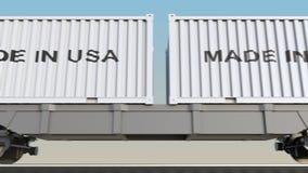 移动的货物火车和容器有做的在美国说明 铁路运输 无缝的圈4K夹子 皇族释放例证
