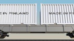 移动的货物火车和容器有做的在芬兰说明 铁路运输 无缝的圈4K夹子 向量例证