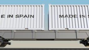 移动的货物火车和容器有做的在西班牙说明 铁路运输 无缝的圈4K夹子 皇族释放例证