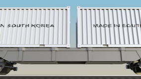 移动的货物火车和容器有做的在韩国说明 铁路运输 无缝的圈4K夹子 库存例证
