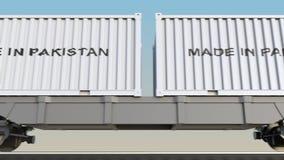 移动的货物火车和容器有做的在巴基斯坦说明 铁路运输 无缝的圈4K夹子 向量例证