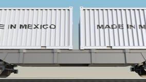 移动的货物火车和容器有墨西哥制造说明的 铁路运输 无缝的圈4K夹子 向量例证