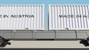 移动的货物火车和容器有奥地利制造说明的 铁路运输 无缝的圈4K夹子 皇族释放例证