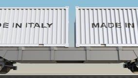 移动的货物火车和容器有意大利制造说明的 铁路运输 无缝的圈4K夹子 皇族释放例证