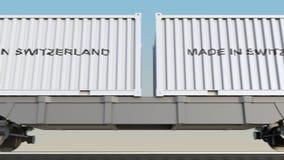 移动的货物火车和容器有瑞士制造说明的 铁路运输 无缝的圈4K夹子 向量例证