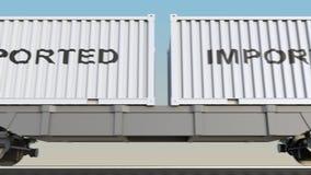 移动的货物火车和容器有进口的说明的 铁路运输 无缝的圈4K夹子 向量例证