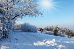 滚动的滑雪轨道在晴朗的12月天 库存图片