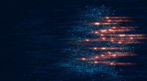 移动空间的蓝色微粒和明亮的光数字式背景  库存图片