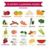 19动脉洗涤的食物,信息图表食物,象传染媒介 免版税图库摄影