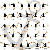 动臂信号机旗子发信号与船锚传染媒介的字母表白色背景 免版税库存照片