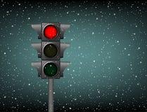 动臂信号机红灯雪 免版税库存照片