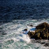 动荡水在离新斯科舍的附近大西洋海岸  库存图片