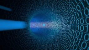 移动通过抽象蓝色隧道的微粒做用零和一个 计算机,数据传送,数字技术 图库摄影