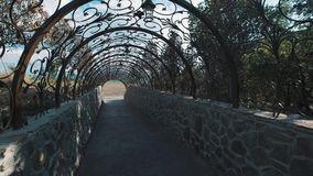 移动通过装饰隧道弓由在被设计的样式的金属制成 影视素材
