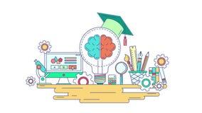 动画平的线知识和创造性的教育图形设计 平的创造性学校和固定式标志和标志概念 向量例证