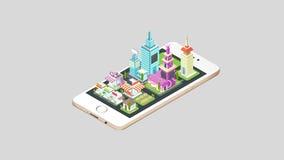 动画房地产房子和商业大厦和都市风景建筑学出去在一个巧妙的电话机动性屏幕上