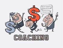 动画片、企业训练和企业前辈教练 免版税库存照片