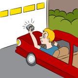 动画片不打开车库的门 免版税库存照片