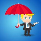 动画片与伞的例证商人 免版税库存照片