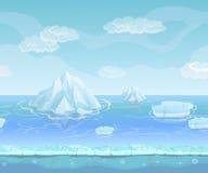 动画片与冰山和冰,雪天空的冬天风景 UI比赛的无缝的传染媒介自然背景 免版税库存图片
