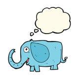 动画片与想法泡影的婴孩大象 免版税图库摄影