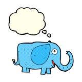 动画片与想法泡影的婴孩大象 免版税库存照片