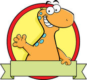 动画片与横幅标志的雷龙恐龙 图库摄影