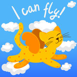 动画片与翼的飞行猫 库存照片