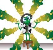 动画片与耳机的传染媒介青蛙在音乐背景 库存例证