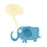 动画片与讲话泡影的婴孩大象 库存图片