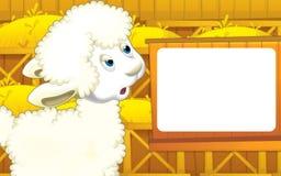 动画片与逗人喜爱的动物-绵羊的农厂场面 免版税库存图片