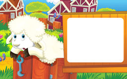 动画片与逗人喜爱的动物-绵羊的农厂场面 免版税图库摄影