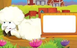 动画片与逗人喜爱的动物-绵羊的农厂场面 免版税库存照片