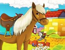 动画片与任意构筑的农厂例证 免版税库存图片