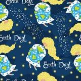 动画片世界地球日无缝的样式 向量 库存图片