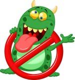 动画片中止病毒-在红色警戒标志的绿色病毒 免版税库存图片