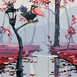 动画片乌鸦坐一个灯笼在秋天湿森林 向量例证