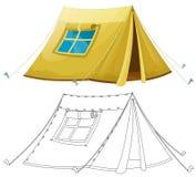 动画片五颜六色的帐篷-与着色页- 库存照片