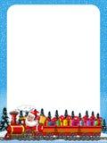 动画片交付礼物的圣诞老人驾驶蒸汽机车垂直框架 库存图片
