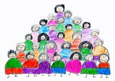 动画片人合作汇集小组画象,画在纸,手拉的艺术图片的孩子对象 库存例证