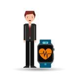 动画片人巧妙的手表和脉冲监视 库存例证