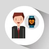 动画片人巧妙的手表和脉冲监视 向量例证