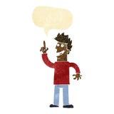 动画片人有与讲话泡影的巨大新的想法 免版税库存图片