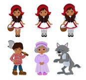 动画片传染媒介例证被设置小红骑兜帽童话字符 免版税库存照片