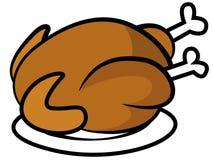 在板材的鸡或火鸡 免版税库存照片