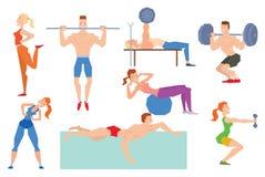 动画片体育健身房人编组在健身球的锻炼 库存图片