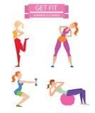 动画片体育健身房人编组在健身球的锻炼 免版税图库摄影